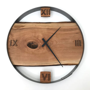 "21"" Cherry Live Edge Wood Wall Clock"