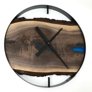"25"" Black Walnut Live Edge Wood Clock ft. Blue Epoxy Inlay"