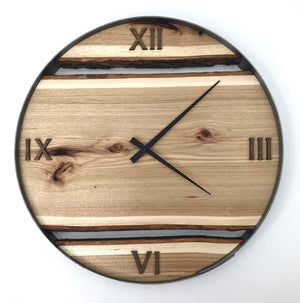 "21"" Hickory Live Edge Wood Wall Clock"