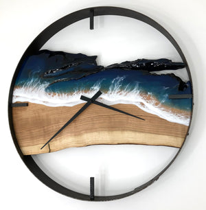 "21"" Life's a Beach Live Edge Cherry Wood Wall Clock"