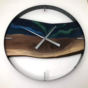 "30"" Northern Lights Live Edge Black Walnut Wall Clock"