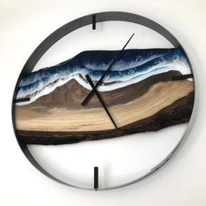 "25"" Life's a Beach Live Edge Black Walnut Wall Clock"