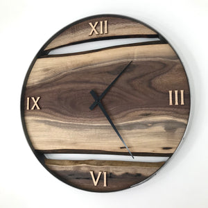 "21"" Black Walnut Live Edge Wood Wall Clock"
