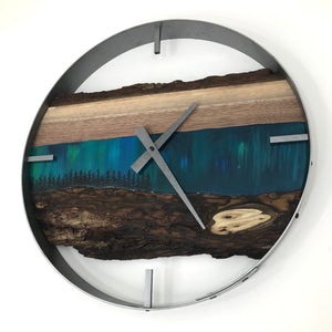 "18"" Northern Lights Live Edge Black Walnut Wood Wall Clock"