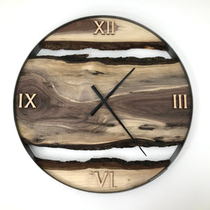 "RESERVED FOR DM // 25"" Black Walnut Live Edge Wood Clock"