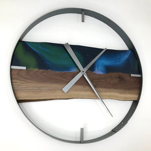 "25"" Northern Lights Live Edge Black Walnut Wood Wall Clock"