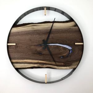 "21"" Black Walnut Live Edge Wood Clock ft. Pearl White Epoxy Inlay"