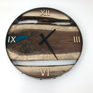 "18"" Black Walnut Live Edge Wood Clock ft. Teal Epoxy Inlay"
