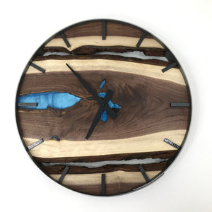 "18"" Black Walnut Live Edge Wood Clock ft. Sky Blue Epoxy Inlay"