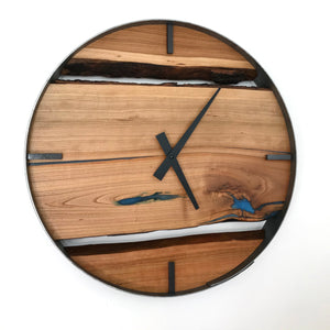 "18"" Black Cherry Live Edge Wood Clock ft. Maui Blue Epoxy Inlay"