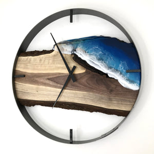 "21"" Life's a Beach Live Edge Black Walnut Wall Clock"