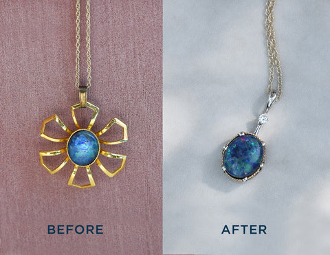 before after opal pendant