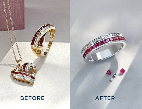ruby and diamond ring and pendant