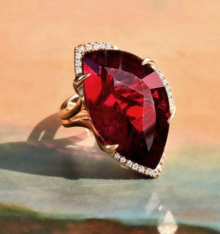large rubellite and rose gold ring