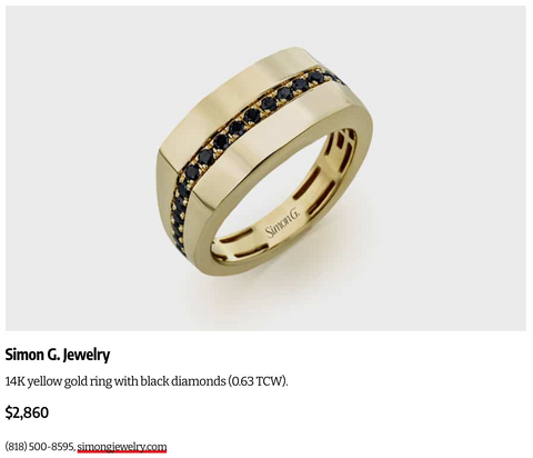 Men's yellow gold and black diamond ring
