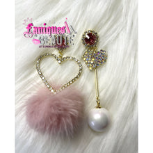 Load image into Gallery viewer, Hearts & Pearls - Pink - Fashion Earrings