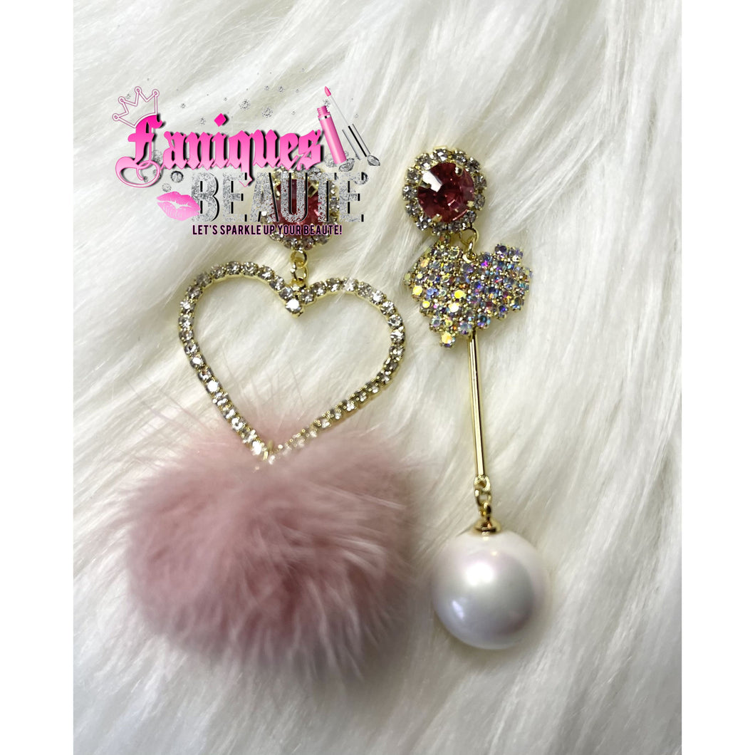 Hearts & Pearls - Pink - Fashion Earrings