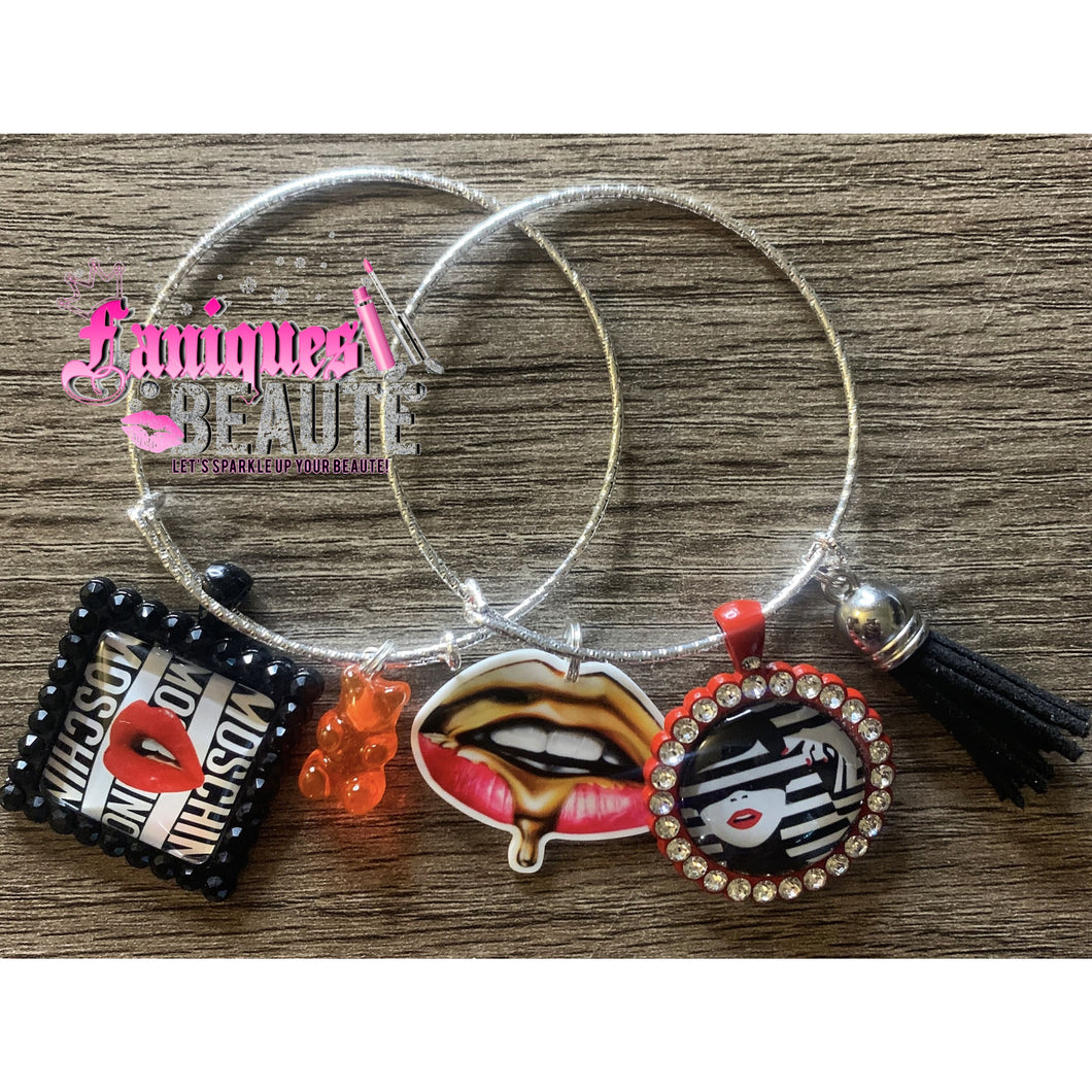 It's The Lips For Me ~ Adult Adjustable Bangle Set - Faniques Beaute Emporium