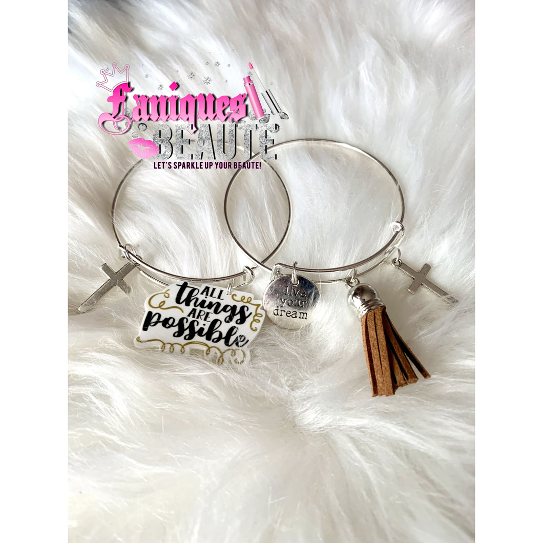 *On Sale* All Things Are Possible ~ Adult Adjustable Bangle - Faniques Beaute Emporium