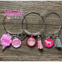Load image into Gallery viewer, PINK ! & Grey Love ~Adult Adjustable Bangle Set - Faniques Beaute Emporium