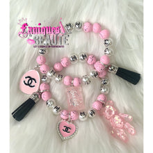 Load image into Gallery viewer, Pink Splatter ~ Adult Beaded Stretch Bracelet - Faniques Beaute Emporium
