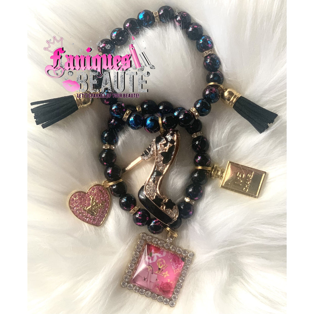 Stiletto Game ~ Adult Stretch Beaded Bracelet Set - Faniques Beaute Emporium