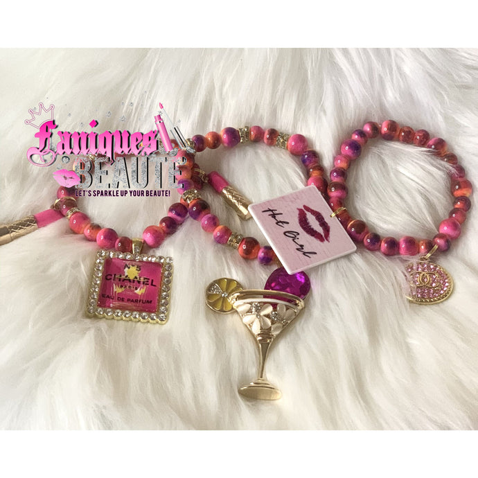 Traces of My Pink Lips ~ Adult Stretch Beaded Bracelet Set - Faniques Beaute Emporium
