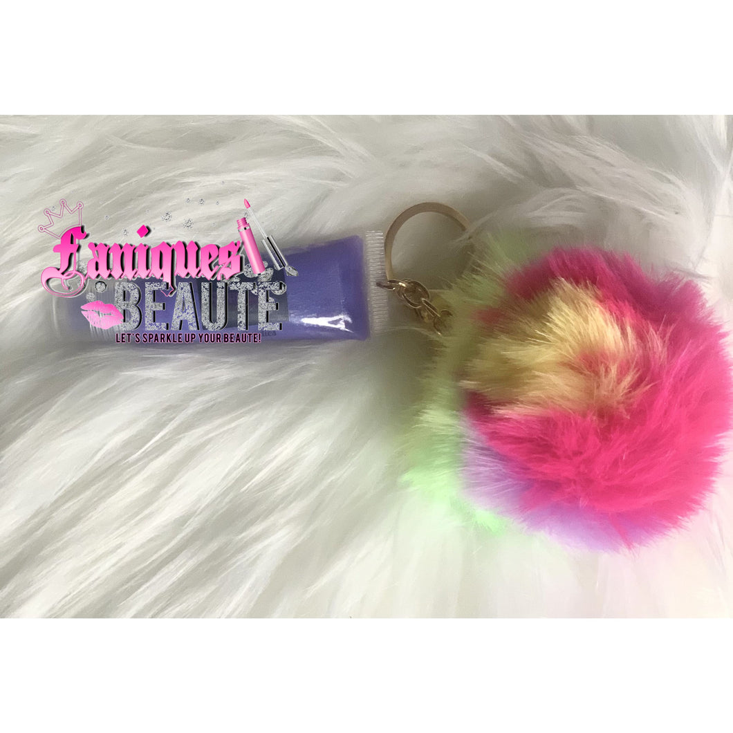 Unicorn Swirl w/ Pom Pom Keychain - Kids Lip Gloss
