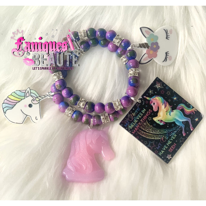 Unicorn Vibes ~ Children's Beaded Stretch Bracelet - Faniques Beaute Emporium
