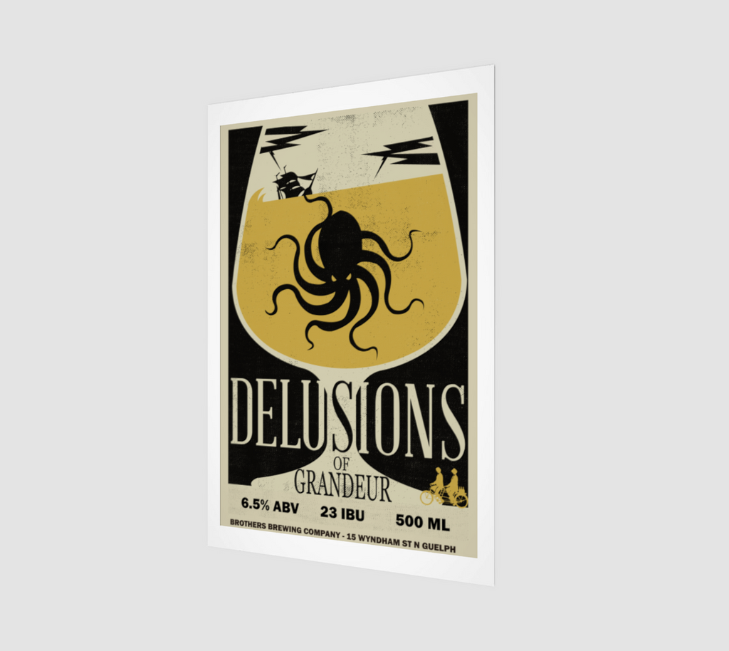 Delusions of Grandeur Belgian Dubbel Beer Label Art Print