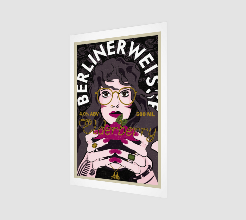 Elderberry BerlinerWeisse Beer Label Art Print