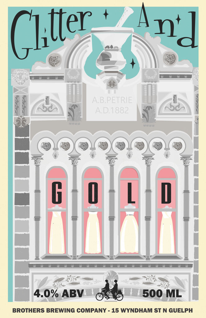 Glitter and Gold White Beer Label Fine Art Print 2