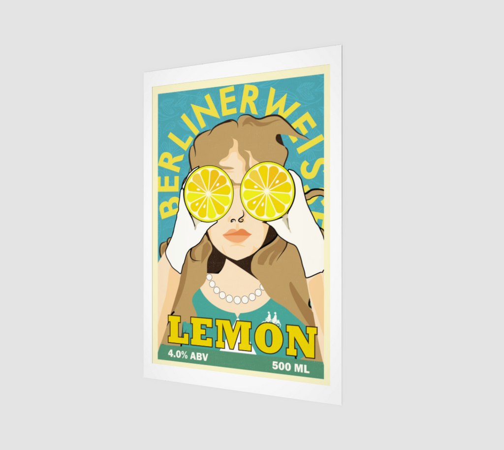 Lemon BerlinerWeisse Beer Label Art Print