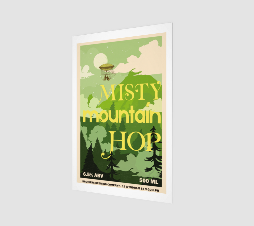 Misty Mountain Hop IPA Label Art Print