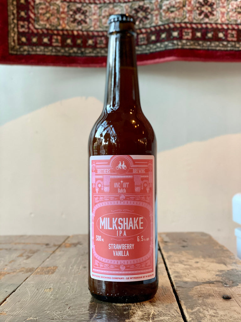 Strawberry Vanilla Milkshake IPA Bottle on Bar