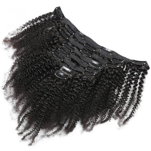 Clip in Human Hair Extensions Kinky Curly for Black Hair - goldenrulehair