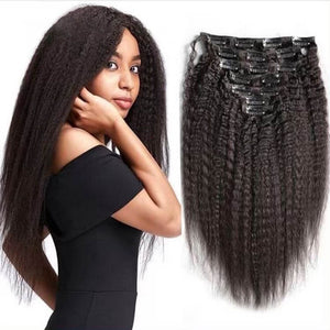Clip in Human Hair Extensions Kinky Straight - goldenrulehair