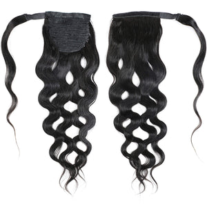 Human Hair Wrapped Ponytail Extensions Body Wave - goldenrulehair