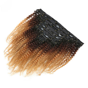 Clip in Human Hair Extensions Kinky Curly Brown - goldenrulehair
