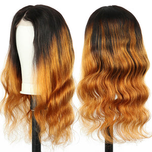 Body Wave 4x4 Lace Closure Wig Human Hair Wig Pre Plucked Ombre Brown - goldenrulehair