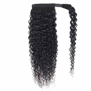 Curly Human Hair Wrapped Ponytail Extensions - goldenrulehair