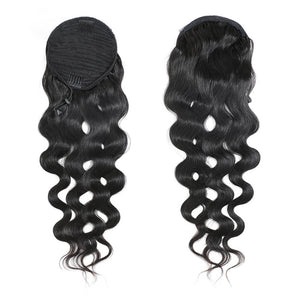 Human Hair Drawstring Ponytail Extensions Body Wave - goldenrulehair