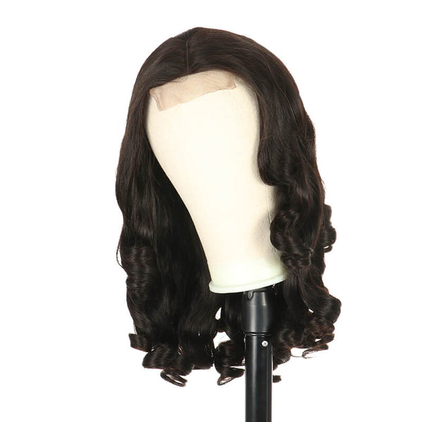 4x4 Lace Closure Wig Human Hair Wig Egg Curl Pre Plucked Natural Black