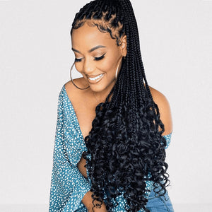 Goddess Box Braids with curly Ends Crochet Hair Natural Black - goldenrulehair