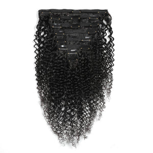 Curly Clip in Human Hair Extensions Natural Black - goldenrulehair