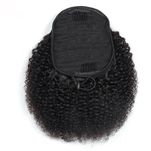 Human Hair Drawstring Ponytail Extensions Kinky Curly - goldenrulehair