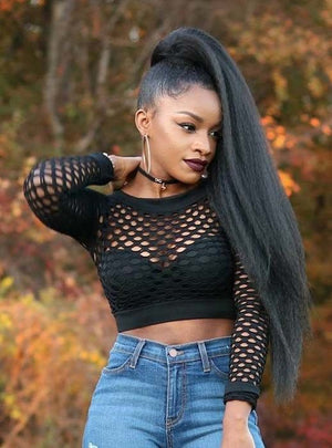 Human Hair Drawstring Ponytail Extensions Kinky Straight - goldenrulehair
