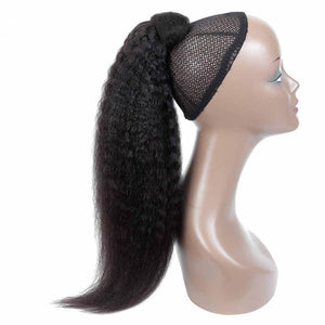 Human Hair Wrapped Ponytail Extensions Kinky Straight - goldenrulehair