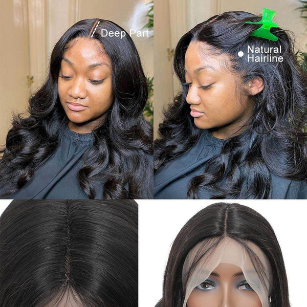 loose Deep Wave T Part Lace Human Hair Glueless Wig Natural Black