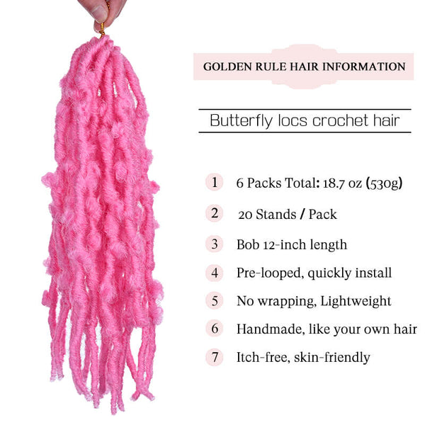 Butterfly locs Crochet Hair Pink Color